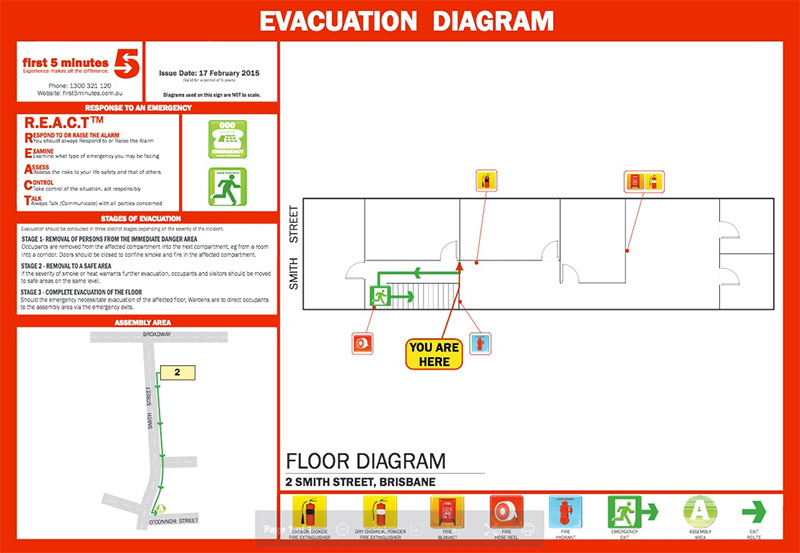 guardian first aid fire emergency evacuation diagrams. Black Bedroom Furniture Sets. Home Design Ideas